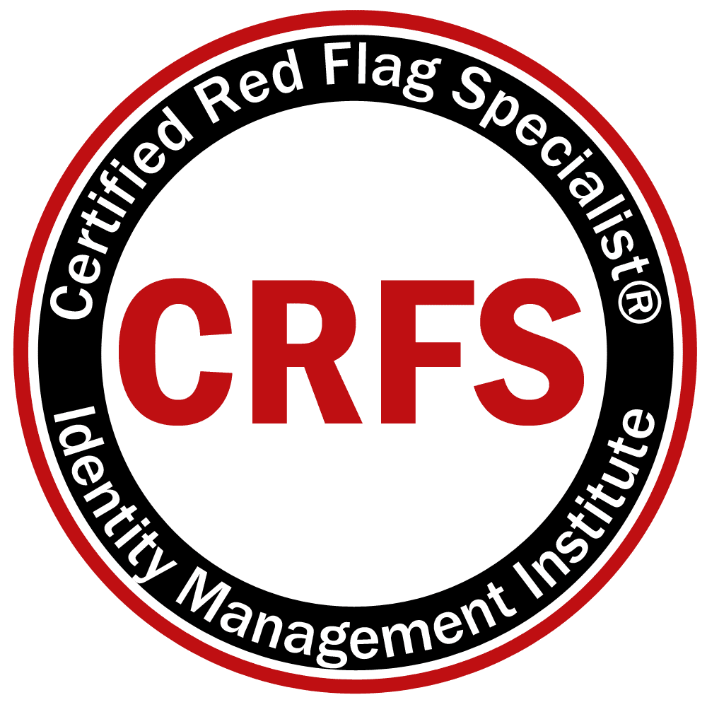 Certified Red Flag Specialist CRFS for identity theft certification and Red Flags Rule compliance